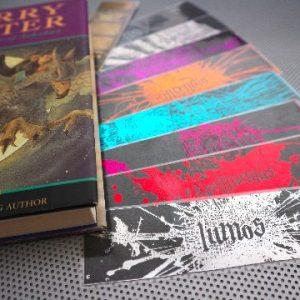 Harry Potter set of 9 handmade bookmarks of Magic Spells in various metallic colors of foil. Great nerd or geek gift!