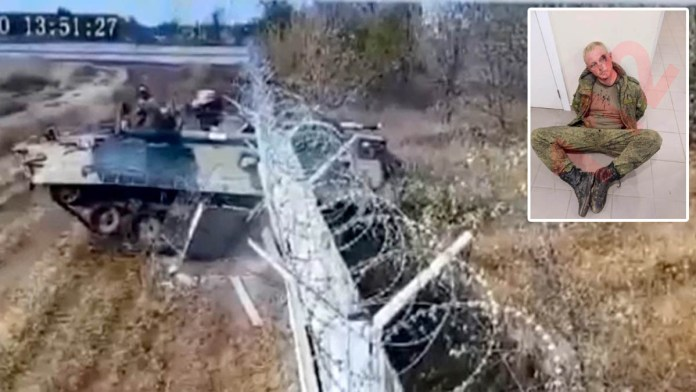 drunk Russian soldiers smash tank through barb-wired metal fence at airport