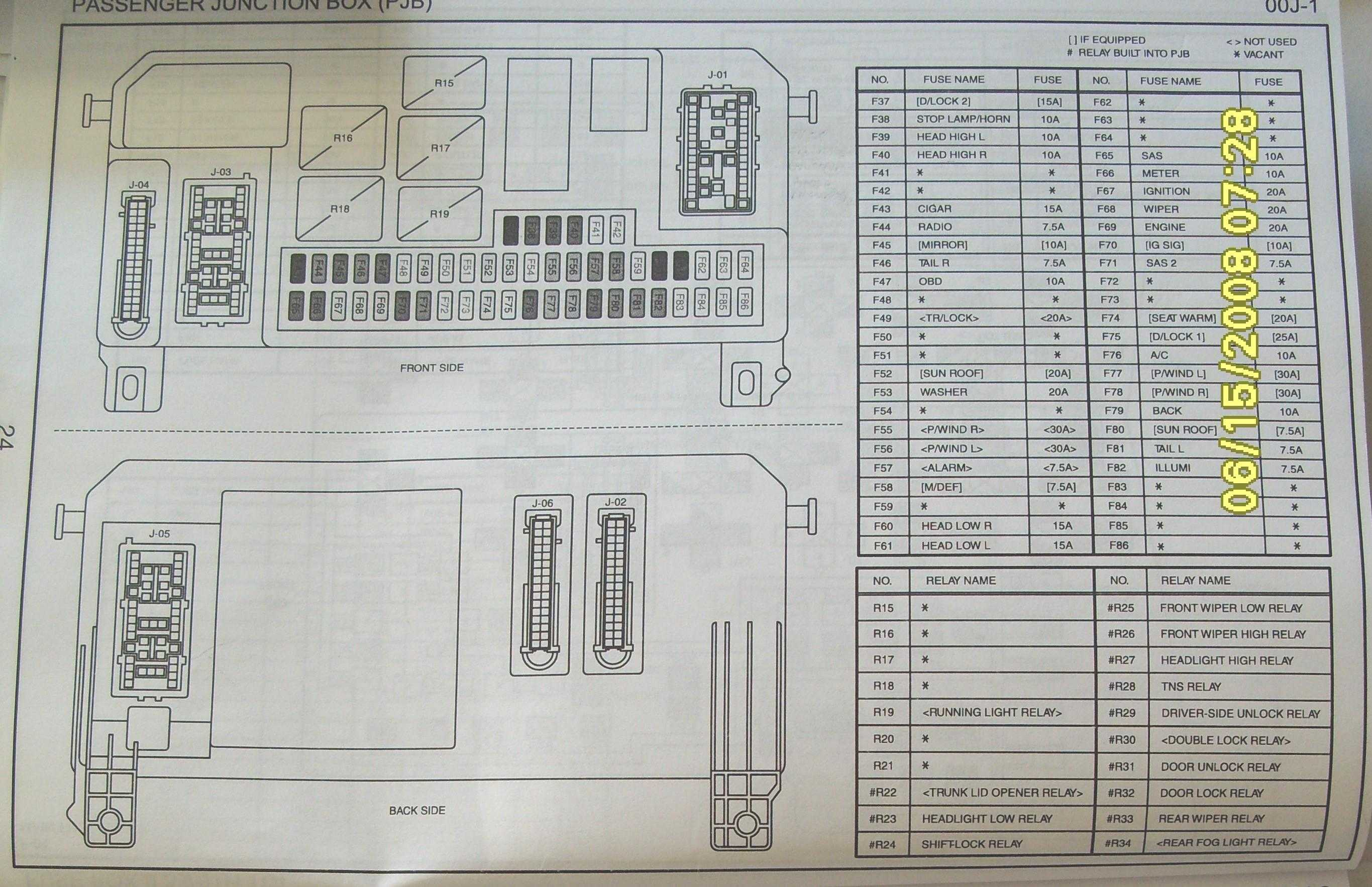 1990 Mazda 626 Fuse Box Diagram B2200