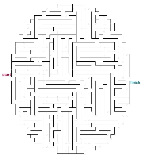mazes to print medium oval circle mazes