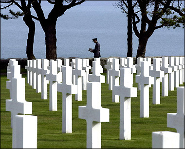 Remembering : World War II Normandy American Cemetery and Memorial which is situated on a cliff overlooking Omaha Beach and the English Channel in Colleville-sur Mer.  (AFP/Mychele Daniau)