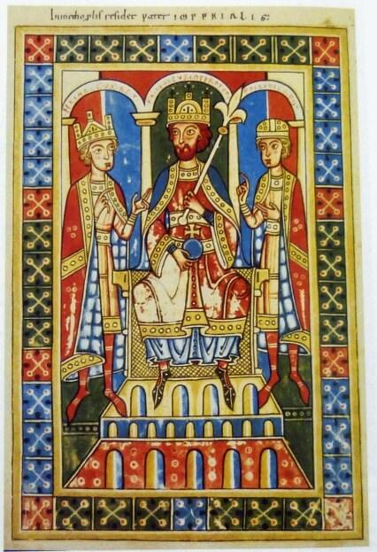Friedrich Barbarossa und seine Söhne Heinrich und Friedrich, Miniatur aus der Welfenchronik (1179). Quellen: Wikipedia.de, planet-wissen.de