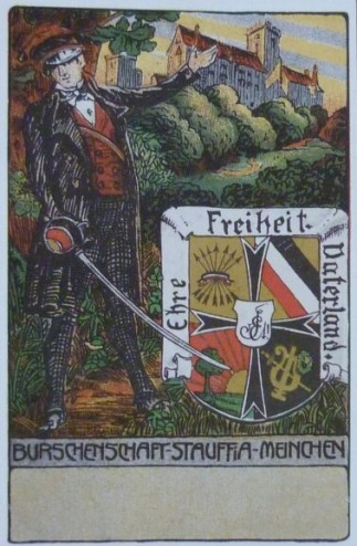 Couleurkarte mit dem Wahlspruch. Im Hintergrund die Wartburg.