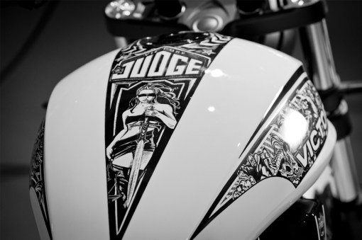"""Blind Justice"" Victory Motorcycle's Custom Sharpie Judge"