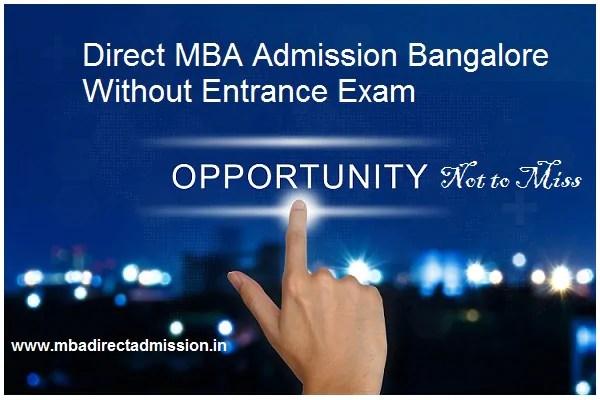 mba admission bangalore without entrance