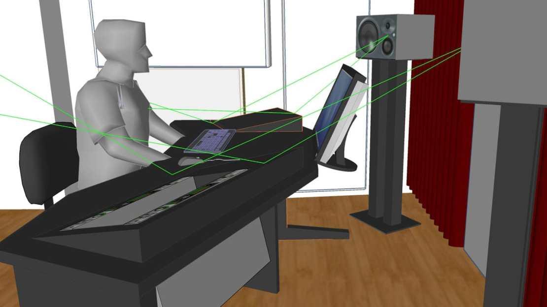 reflexionsfreies Studiomöbel im Entwurf...