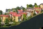 Bunte Wohnhäuser am Ortseingang