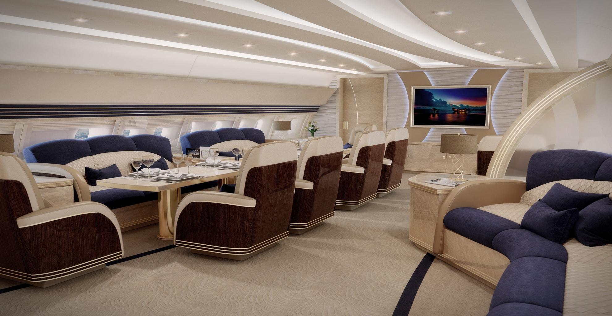 Airbus Acj 340 500 Dining Room Interior Designs