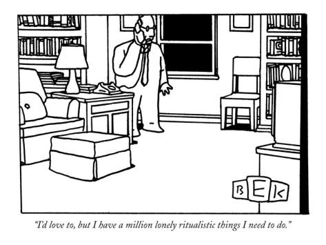 bruce-eric-kaplan-i-d-love-to-but-i-have-a-million-lonely-ritualistic-things-i-need-to-do-new-yorker-cartoon