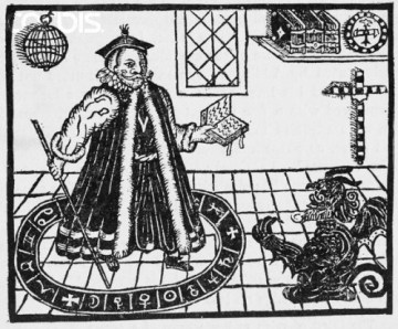 Woodcut of Dr. Faustus Conjuring Mephistopheles