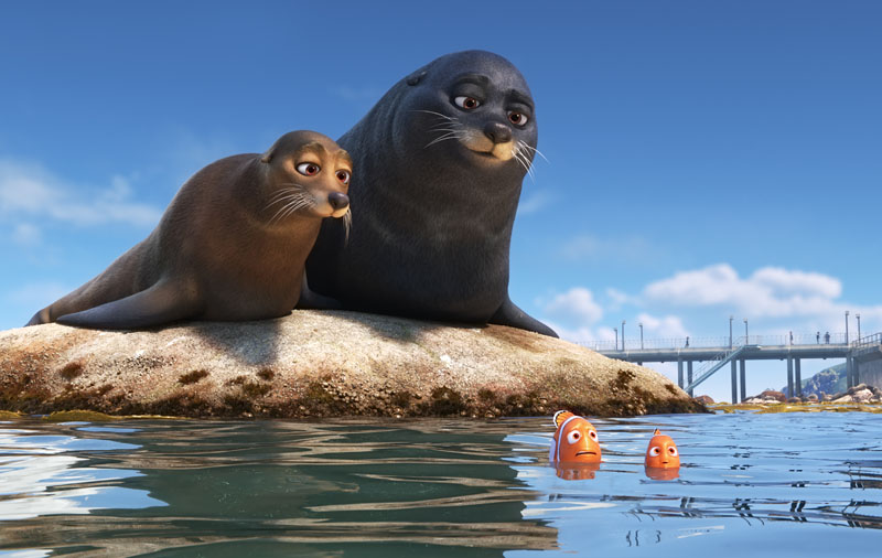 "FINDING DORY – Marlin and Nemo get guidance from a pair of lazy sea lions in an effort to catch up with Dory. Featuring Idris Elba as the voice of Fluke and Dominic West as the voice of Rudder, ""Finding Dory"" opens on June 17, 2016. ©2016 Disney•Pixar. All Rights Reserved."