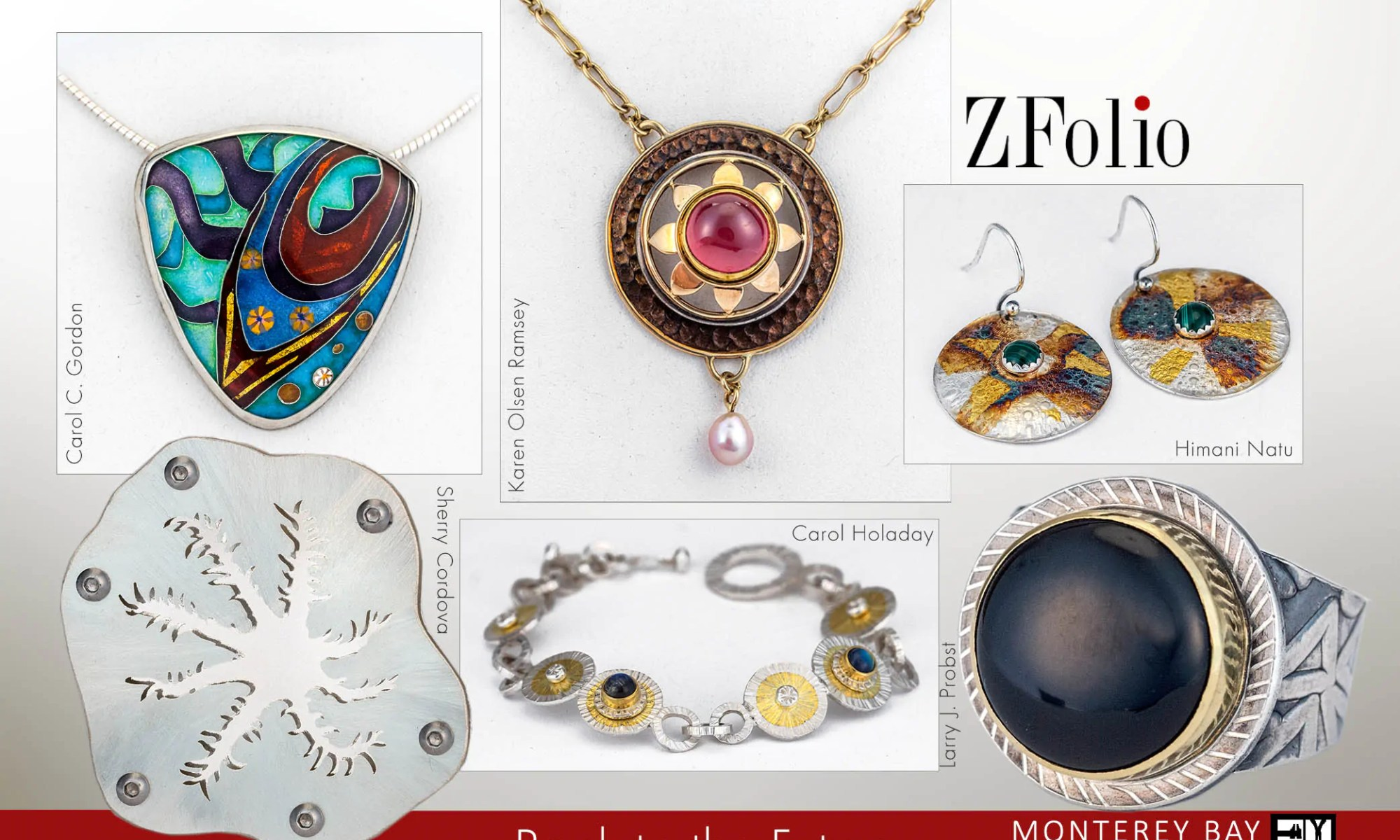 """front of postcard image for ZFolio Gallery show """"Back to the future"""" features a brooch, pendants, earrings, a bracelet, and a ring"""