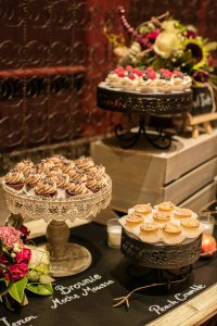 dessert station with peach crumble, brownie mocha mousse