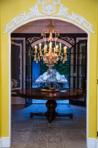 Foyer with Candlelit Chandelier