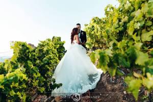 Bride and Groom in Vineyards at Malibu Rocky Oaks