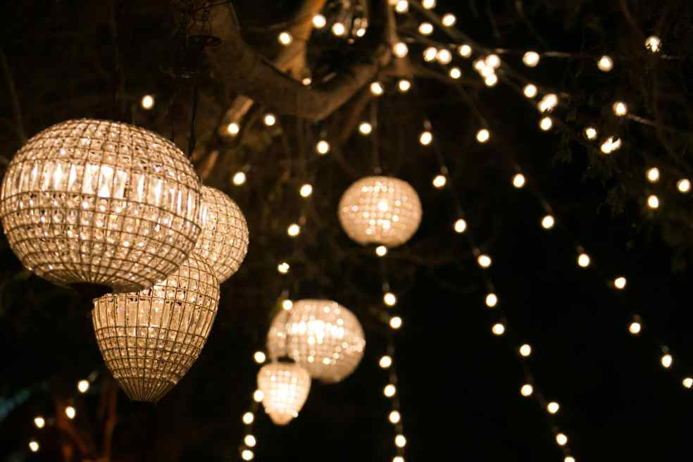 Outdoor Lights at Hummingbird Nest Ranch Wedding | Made By Meg Catering
