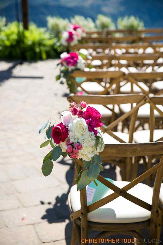 Chairs with Flowers at Malibu Rocky Oaks Wedding | Catered by Made By Meg