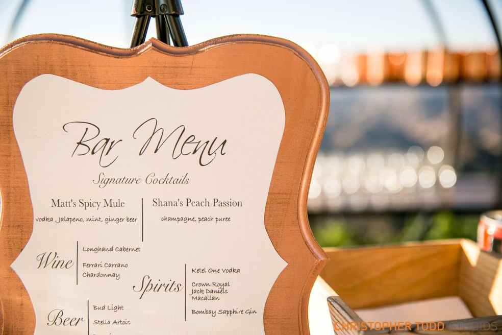 Bar Menu at Malibu Rocky Oaks Wedding | Catered by Made By Meg
