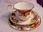 ROYAL ALBERT OLD COUNTRY ROSES TRIO CUP SAUCER DESSERT TREAT PLATE EXCELLENT