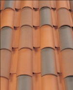 Corona Tapered two piece clay roof tile, B322 Santa Maria Blend.