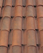 Corona Tapered two piece clay roof tile, B330-R Old Santa Barbara Blend.