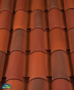Classic Tapered 2-piece mission clay roof tile, B301 Old Mission Blend.