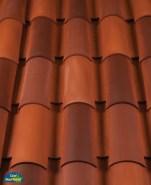 Classic Tapered 2-piece mission clay roof tile, B308 Canyon Red Blend.