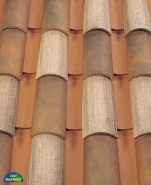 Corona Tapered two piece clay roof tile, B332-R Houstonian Blend.