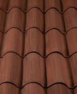 Classic S Mission clay roof tile, 2F45-SSC Tierra Brown Blend.