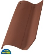 Classic S Mission clay roof tile, 2F45 Tobacco full surface color.