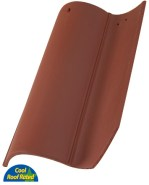 Classic S Mission clay roof tile, 2F72 Mahogany full surface color.