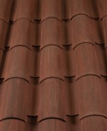 Corona Tapered two piece clay roof tile, 2F45-SSC Tierra Brown Blend.