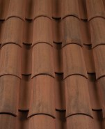 Corona Tapered two piece clay roof tile, CB364-R Vintage Carmel Blend.