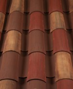 Corona Tapered two piece clay roof tile, CB389-SC Marco Blend.