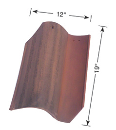 Classic S Mission clay roof tile dimensions.