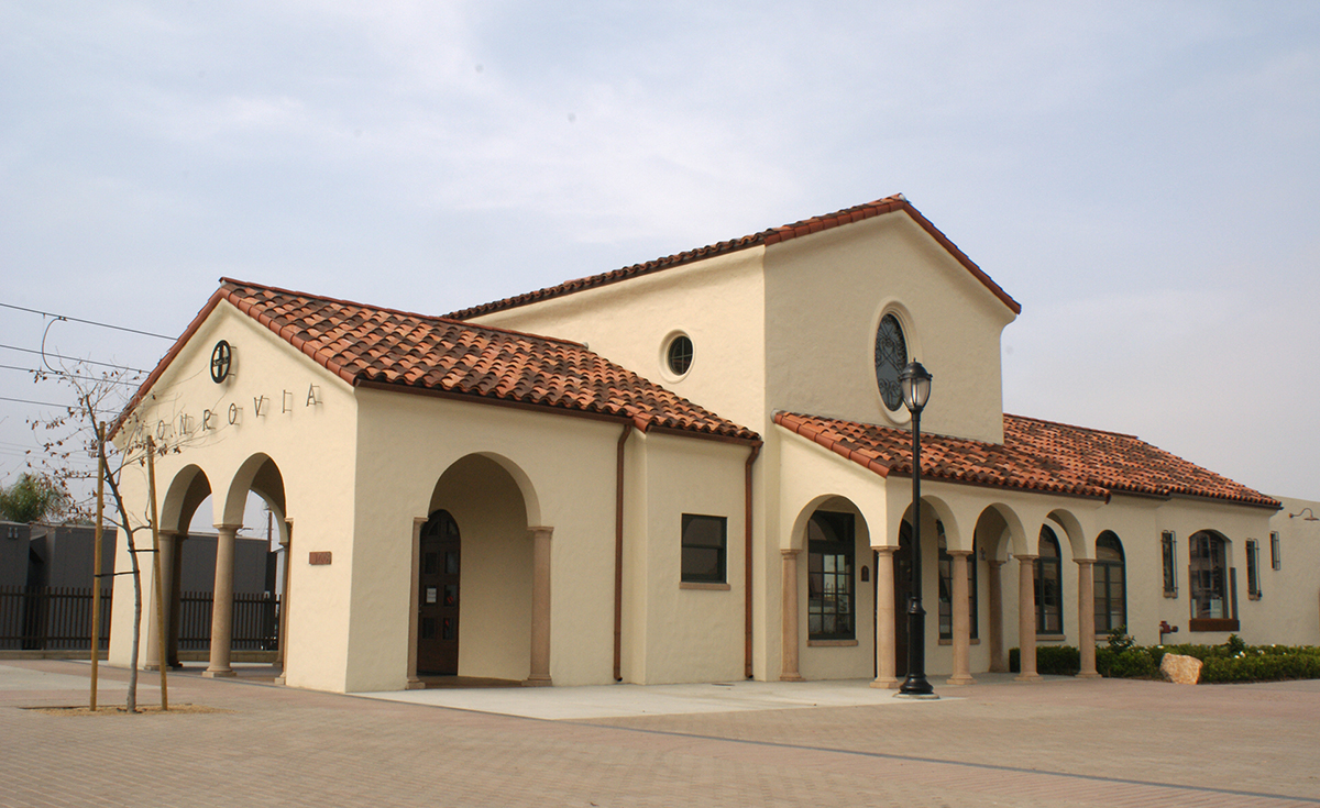 Monrovia Santa Fe Train Depot historical clay roof tile - 8 inch straight barrel pans incorporated with original historical clay roof tile