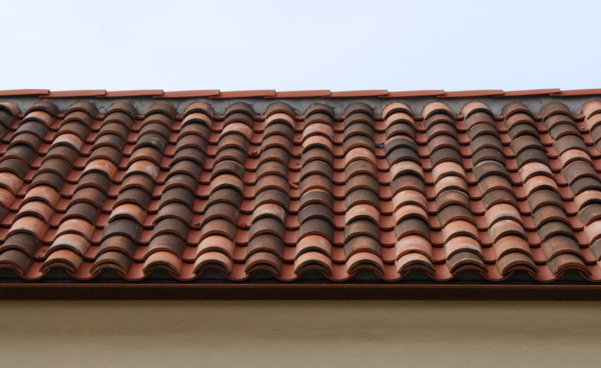 Detail of Monrovia Santa Fe Train Depot historical clay roof tile - 8 inch straight barrel pans incorporated with original historical clay roof tile