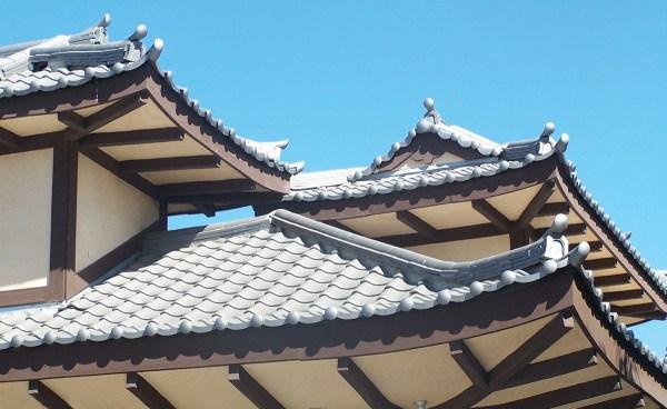 detail of oriental Japanese clay roof tile in C09 Japanese black ibushi on restaurant in Long Beach california