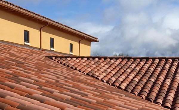 Corona Tapered Mission clay roof tile in custom blend on Domaine Serene Winery in Dayton Oregon