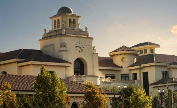 Turret clay roof tile in B332-R Houstonian Blend on Temecula Civic Center - 360 turret