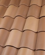 "One Piece ""S"" clay roof tile B221 El Dorado Blend 70% 2F34 Carmel Full Surface, 30% 2F99 Desert Sand Full Surface (pre-blended)"
