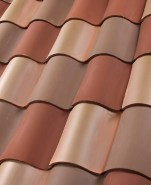 "One Piece ""S"" clay roof tile B350 Old Barcelona Blend 33% 2F45 Tobacco Full Surface, 33% 2F19 Ironwood Full Surface, 33% 2F34 Carmel (pre-blended)"