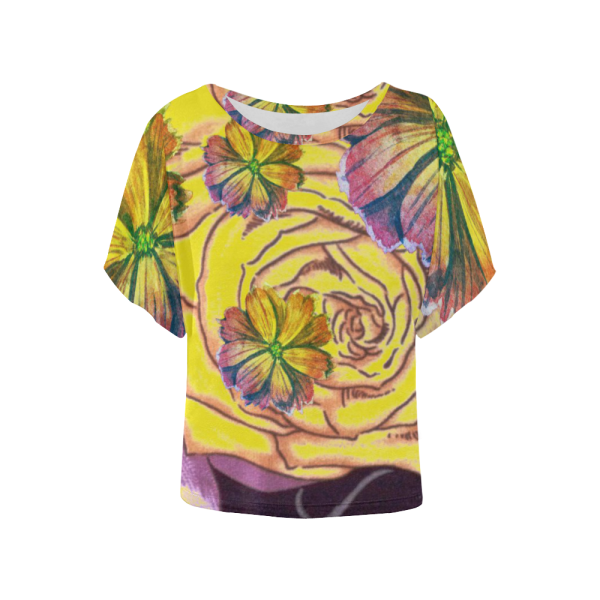 Multicolor Watercolor Flowers Yellow Purple Green