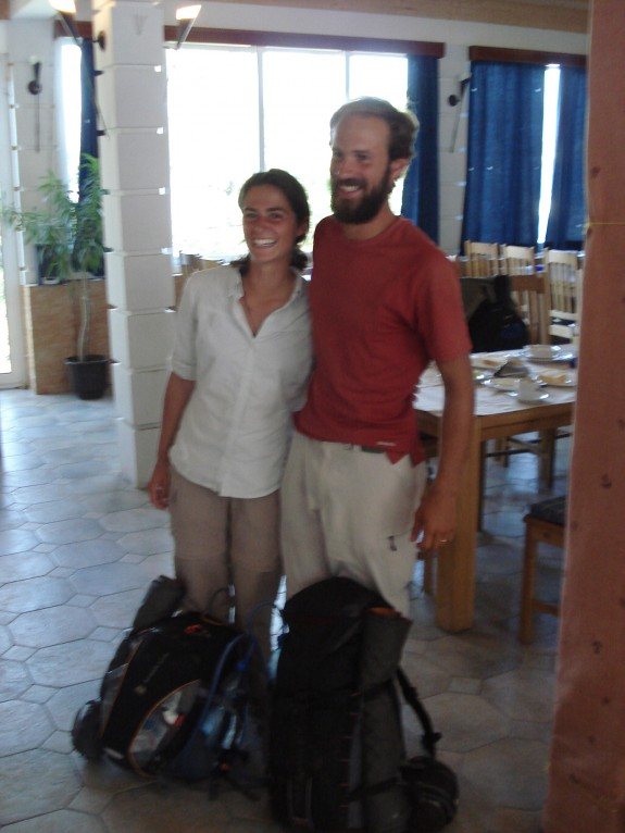 The travelling couple, this was literally all the gear they had. I like how they clearly were getting two pics taken at once and each picked one camera to look at. Thrifty!