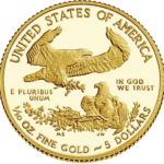 American Eagle 2015 One-Tenth Ounce Gold Proof Coin reverse. Actual diameter: 0.650 inches (16.50 mm).