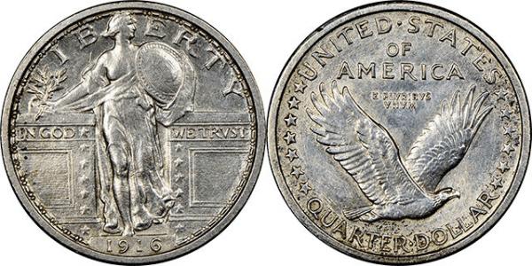 1916 Standing Liberty Quarter, J-1989 pattern