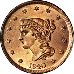 1840 Once Cent Obverse