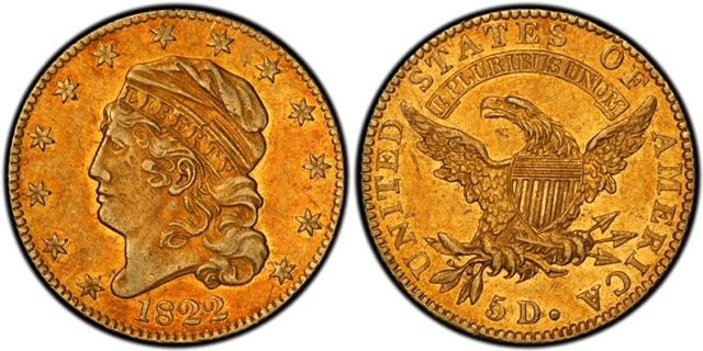 1822 Capped Bust Half Eagle Gold Coin