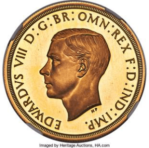1937 Edward VIII 5 Pounds Gold