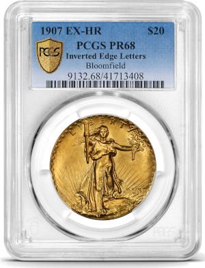 1907 UHR $20 PCGS PR68 obverse
